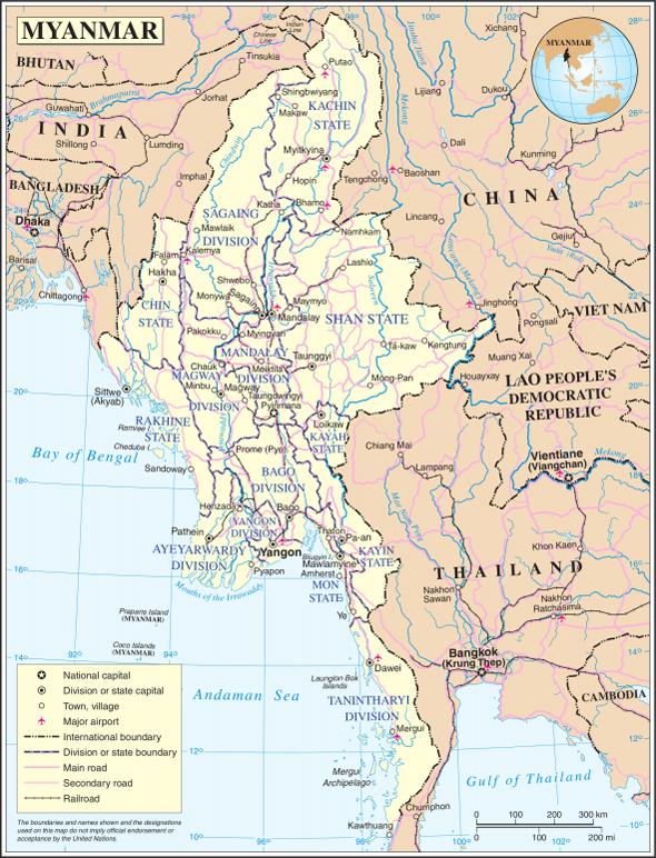 ミャンマーの地図